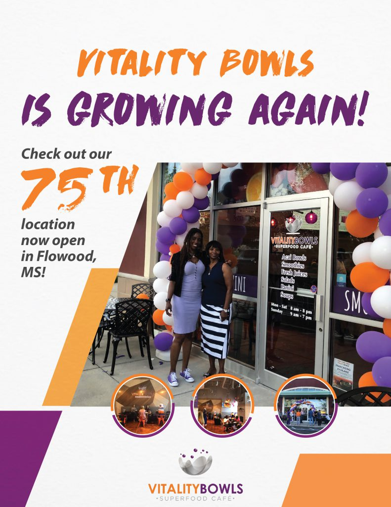 Vitality Bowls is growing again!  Check out our 75th location now open in Flowood, MS!
