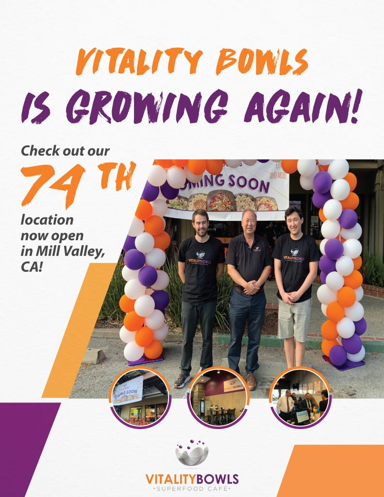 Vitality Bowls is growing again.  Check out our 74th location now open in Mill Valley, CA!