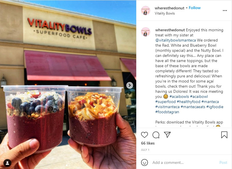 @wheresthedonut posts about vitality bowls manteca